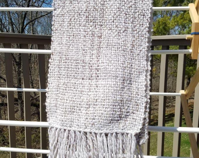Light tan striped wool/acrylic scarf