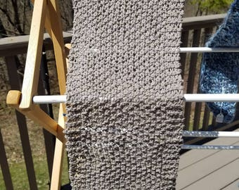 Lovely Khaki Seed Stitch Knitted Cotton Scarf