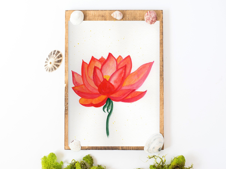 Lotus art lotus painting lotus flower art lotus wall art etsy image 0 image 1 izmirmasajfo