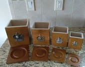 Vintage Set of 4 Mill Grinder Emblemed Wood Nesting Canisters with Lids and Fitted Liner Inserts