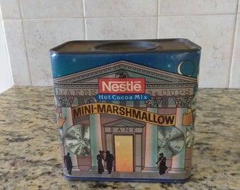 Vintage Nestle Hot Coca Mix Mini Marshmallow Tin and Cardboard with Slotted Cover