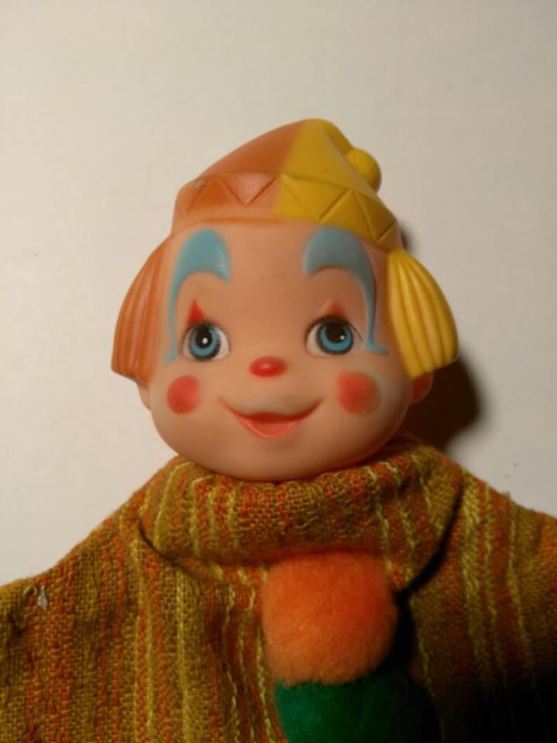 Vintage Boy Clown Doll Puppets in Hand made outfit