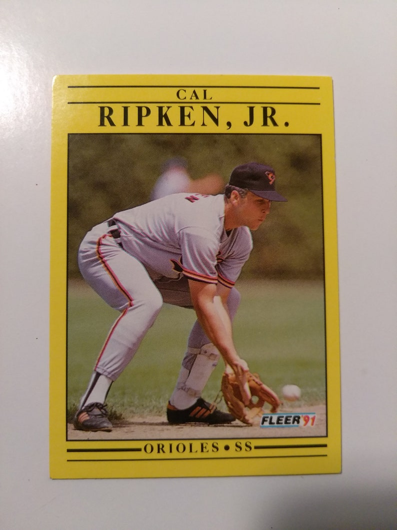 Vintage 1991 Fleer Cal Ripken Jr Baltimore Orioles Short Stop Position Baseball Trading Card