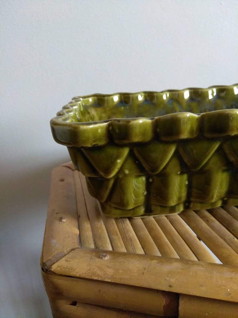 Vintage UPCO Ungemach Pottery Company Green stack pattern Planter