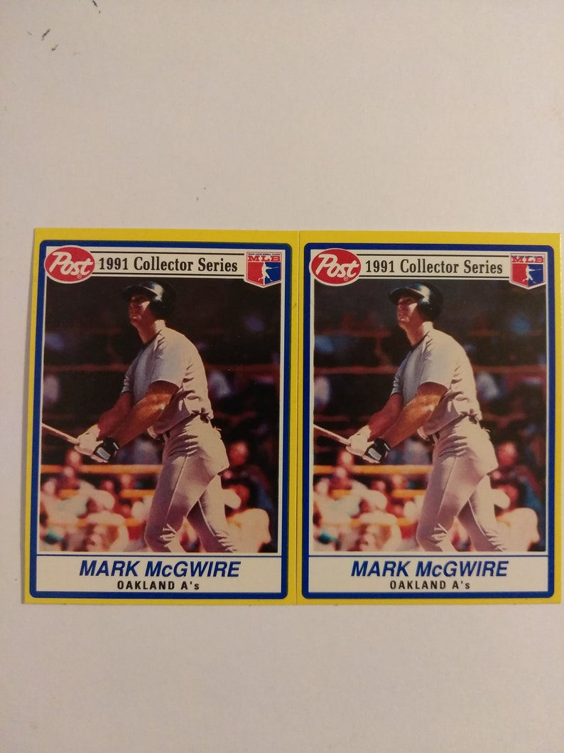 2 Vintage 1991 Post Cereal Mark Mcgwire Collector Series One Good And One Oops Uniquely Offered Baseball Cards