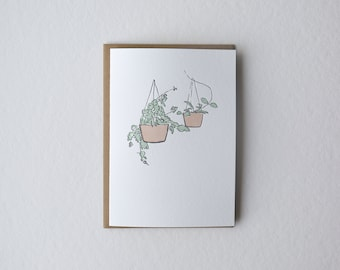 Hanging Plants Letterpress Greeting Card