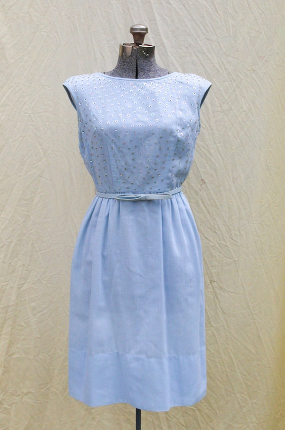 discount shop new products new high 1960s 60s Vintage Wiggle Dress   Baby Blue Sequined with belt   Small