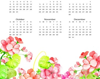 2018 Calendar//Original Art Geranium Flowers//Watercolor Calendar//One Page Wall Calendar//11 x 17//Pink, Purple//Giclee Print