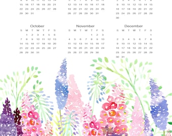 2018 Calendar//Original Art Colorful Wildflower//Watercolor Calendar//One Page Wall Calendar 11 x 17//Pink, Purple//Giclee Print