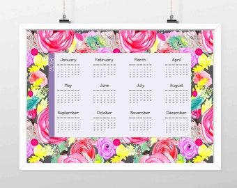 2018 Calendar//Original Art Roses Floral Watercolor Calendar//One Page Calendar//18x12 or 11 x 17 //Pinks and Teal//
