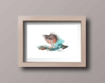 Tiny Bird Print, Watercolor Print, Nature Watercolor, Original Art Bird, Giclee Bird, Fine Art, Watercolor Painting, FIne Art Print,