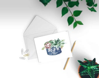 Watercolor Succulent Illustration Note Card Set // Vintage Coffee Can // Set of 6 cards and envelopes // printed on heavy card stock.