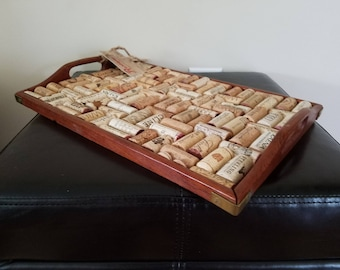 Re-purposed wine cork serving tray