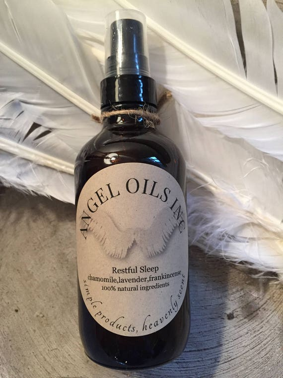 RESTFUL SLEEP MIST-Enjoy a beautiful nights sleep with Pure&Natural chamomile/lavender/frankincense essential oils. By AngelOilsInc.