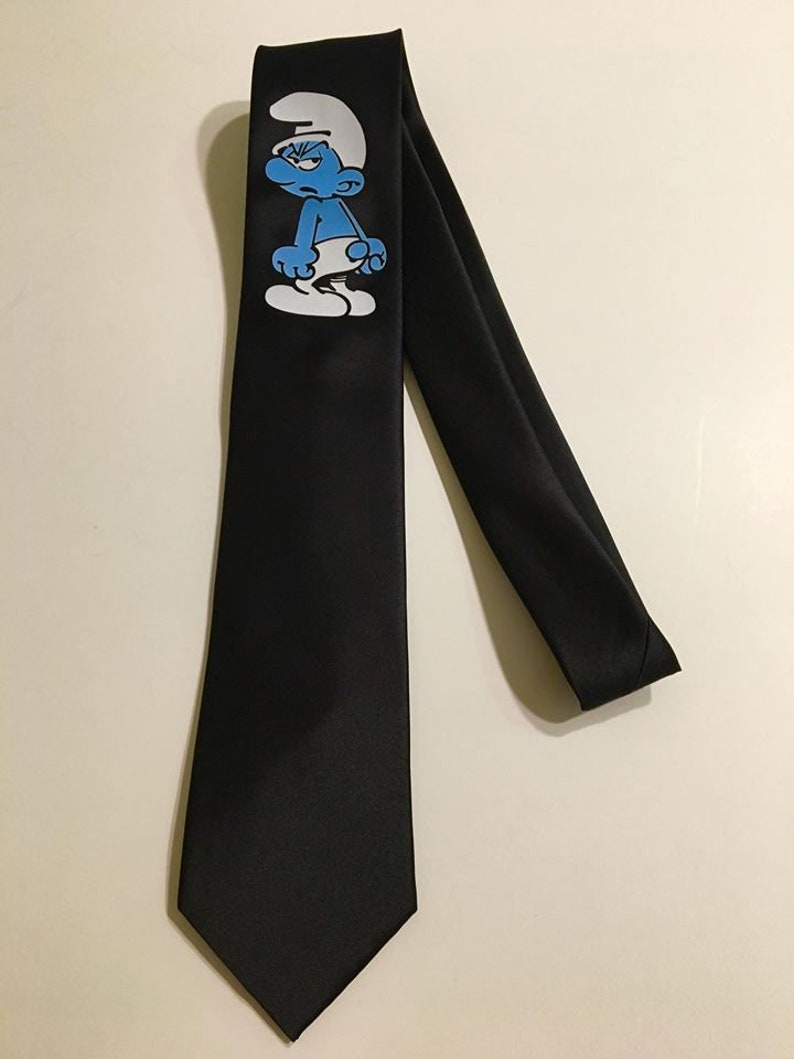 Black Tie Chest Area Cool and Fun Blue and Cute Grouchy Small Necktie