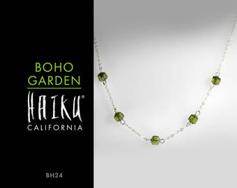 Boho Garden by HaikuCalifornia: Green and silver lantern necklace with silver chain.