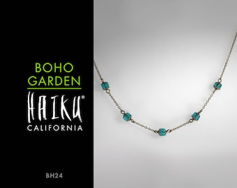 Boho Garden by HaikuCalifornia: Turquoise teal lantern necklace with bronze chain.