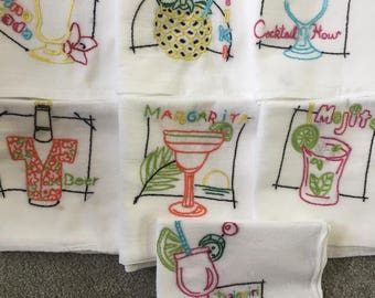 Embroidered Tropical Drink Dish Towels