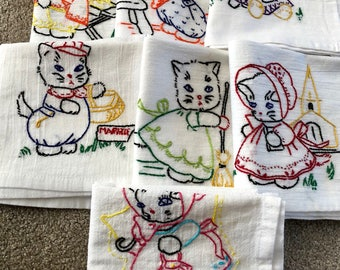 Embroidered Kitten Dish Towels