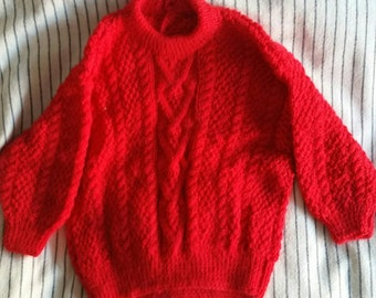 Unisex jumper, red jumper, winter clothing, childrens clothing