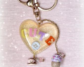 Cute as A Button Heart Resin Keychain