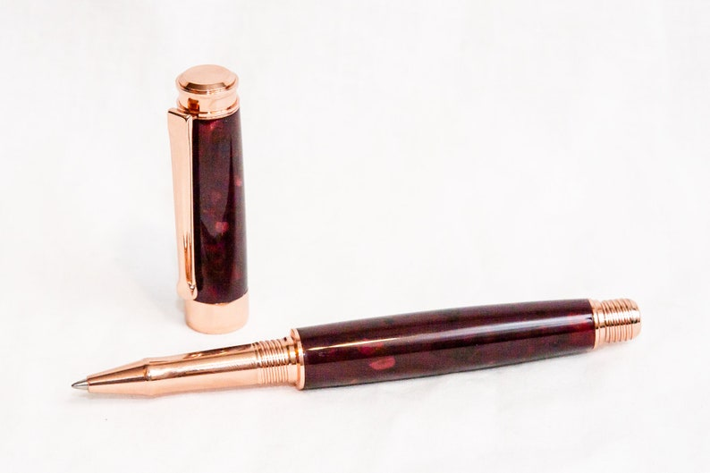 Claret Precious Resin Rollerball Pen in Rose Gold-Plated image 0