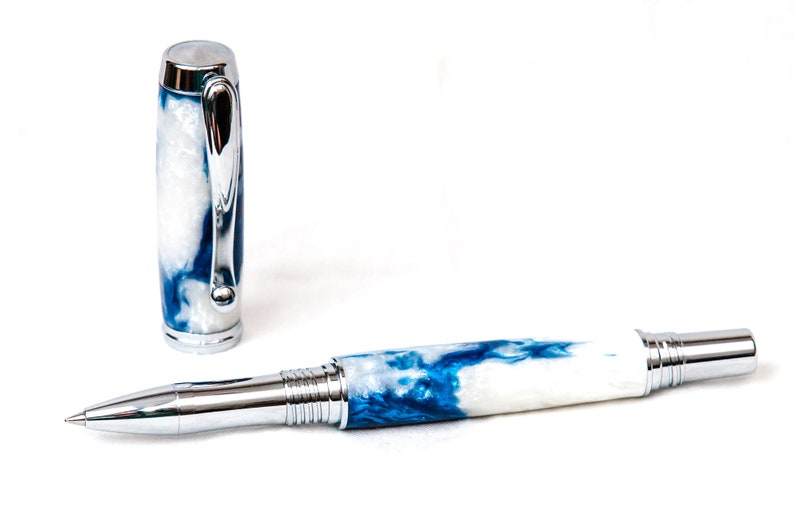 Blue and White Resin Rollerball Pen w/ Chrome Plating image 0