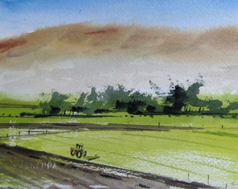 Watercolor art painting of Santa Ynez River Valley farm, southern California, Santa Barbara landscape, print from a handmade original