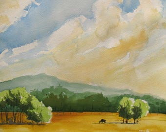 Watercolor art painting of Oregon farm, Willamette Valley landscape, with a cow in the foreground, print from a handmade original