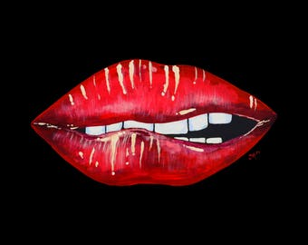 "Acrylic ""Kissy Lips"" Original  Art"