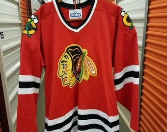 18c63cce3 New Year SALE 15% Off Vintage 80 s Original NHL Chicago Blackhawks Hockey  Jersey By Cosby CCM. Men s Size Medium.