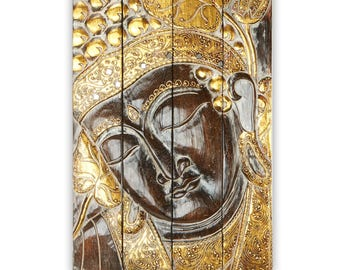 Wooden Buddha Quadruple Panel - Gold and Brown