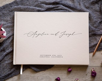 Personalized Guest Book - Custom Wedding Reception Guestbook Signing Book, Modern Elegant Blank Book for Engagement Party Bridal Shower