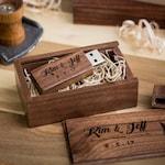 Thin Walnut USB Flash Drive & Wooden USB Box Set - Personalized Custom Engraved USB Set - Video or Photography Wedding usb Packaging