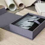 """4x6"""" Boudoir Linen Photo Proof Box - Grey or Ivory Fabric Storage Box, Wedding Day Gift for Husband Wife, Valentines Day Gift for Him Her"""
