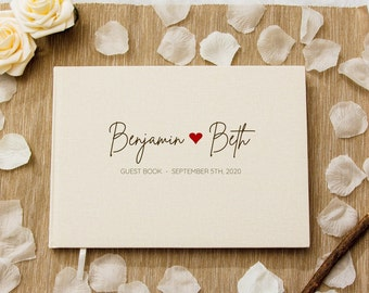 Personalized Guest Book - Custom Wedding Reception Guestbook or Engagement Party Signing Book, Modern Classy Blank Book