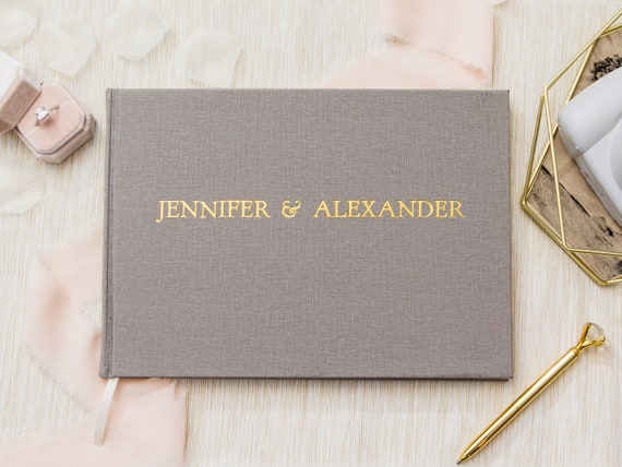Large 11.5 x 8.5 Gray Canvas Linen Guest Book with Gold Text Embossing