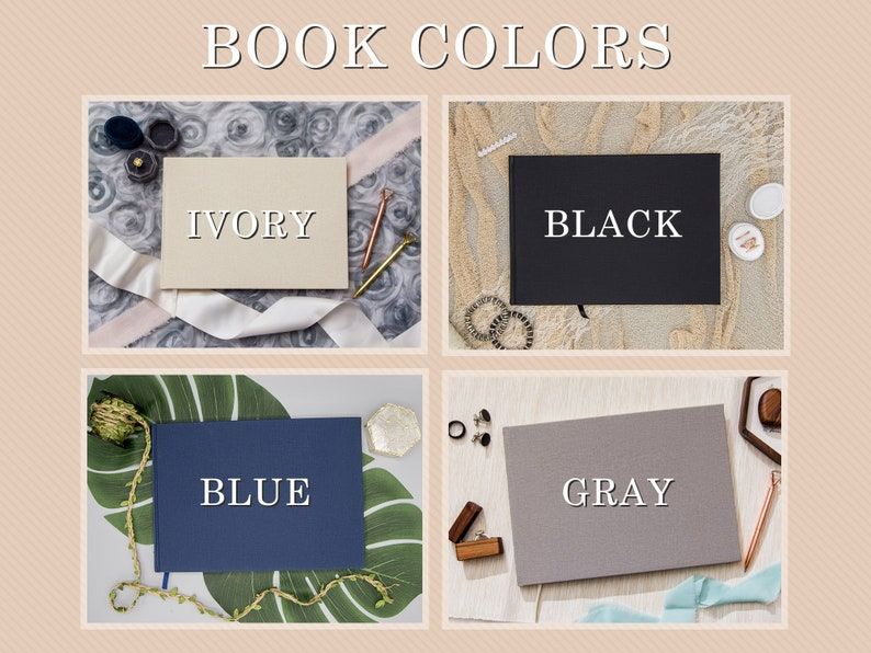 Custom Modern Birthday Event Sign-In Books 11.5 x 8.5 Large Wedding Engagement Party Guest Book Canvas Linen Guest Book