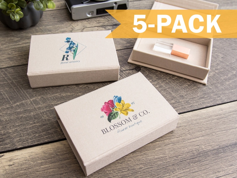 Engraved Crystal USB Flash Drive in Rose Gold or Gold Option 5-PACK Ivory Linen USB Box with Color Logo Imprinting