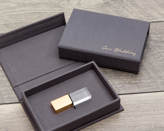 Gray Linen Usb Box   Engraved Crystal Usb Flash Drive In Rose Gold Or Gold Optional by Etsy