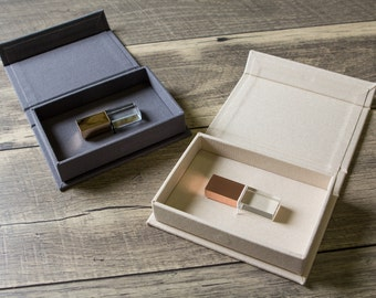 Linen USB Box in Grey or Ivory - Engraved Crystal USB Flash Drive in Rose Gold or Gold Optional