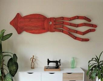 Calamar géant en bois de palette