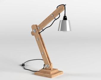 Lampe d'architecte articulée en bois 50cm