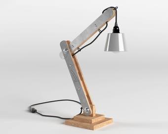 Lampe d'architecte articulée en bois et métal 50cm