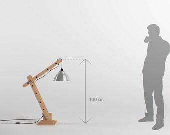 Lampe d'architecte articulée en bois 100cm