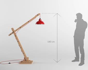 Grande lampe d'architecte articulée en bois 180cm