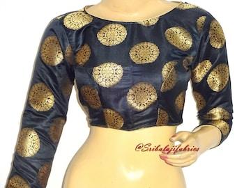 f6c40a3558fcf6 Ready to Wear Pure Banarasi Brocade Silk Saree Blouse