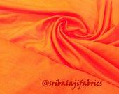 Dupion Silk, Solid Orange Color Dupioni Silk Fabric by yard, Plain silk, dupioni silk by yard,Polysilk