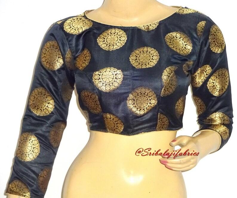 35869cf5248811 Ready to Wear Pure Banarasi Brocade Silk Saree Blouse