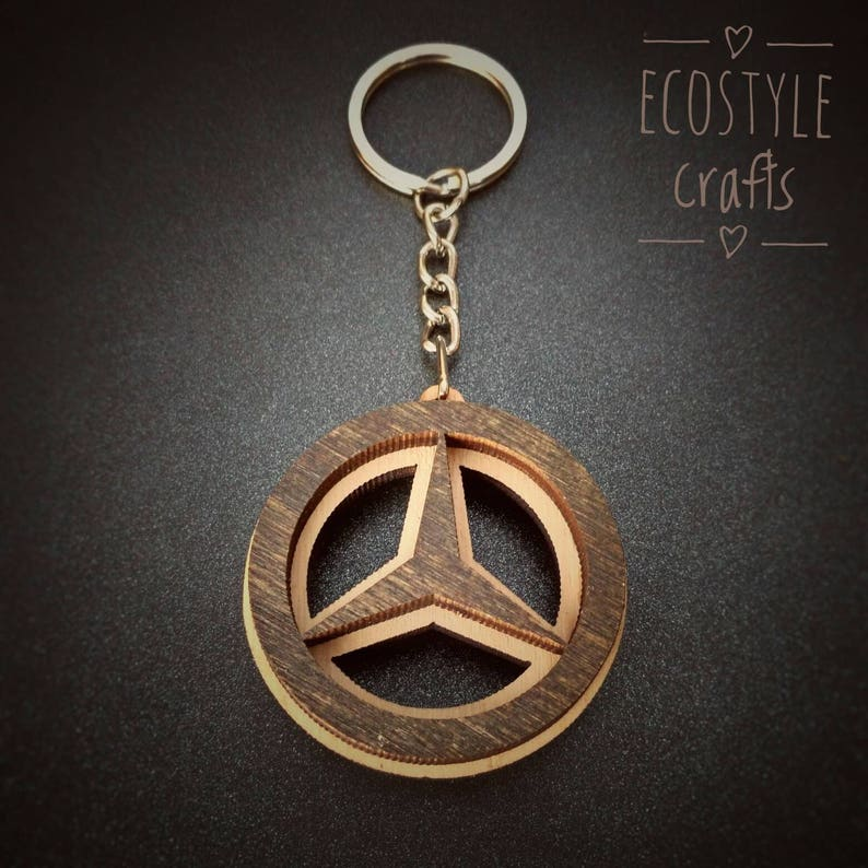Mercedes Benz MB Key Chain with logo Laser Cut Wooden Keychain  553296466b